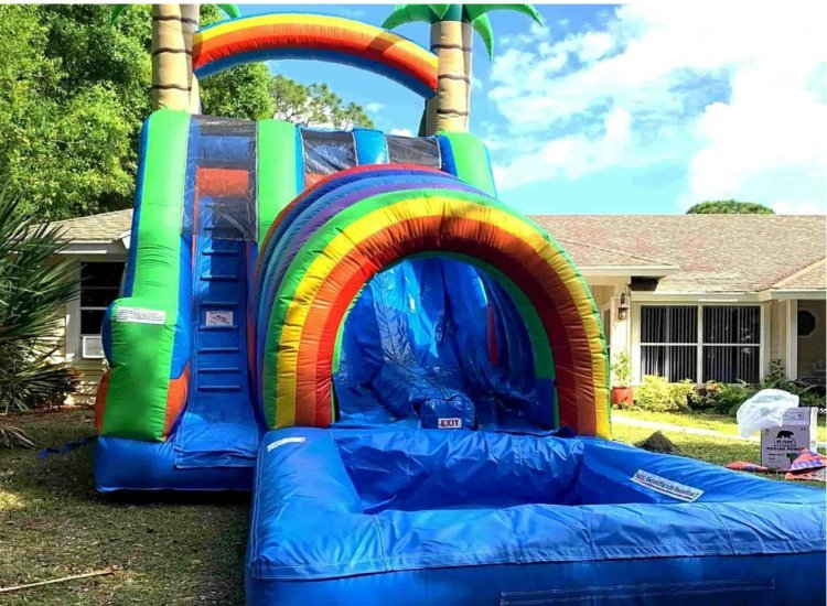 18 Ft Double Funnel Splash Slide