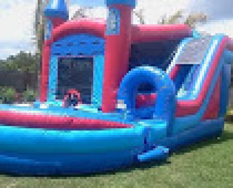 4-1 Jump n Splash Castle (long slide, pool, hoop)